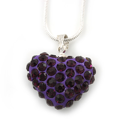 Deep Purple Crystal 3D Heart Pendant On Silver Tone Snake Style Chain - 40cm Length/ 4cm Extention