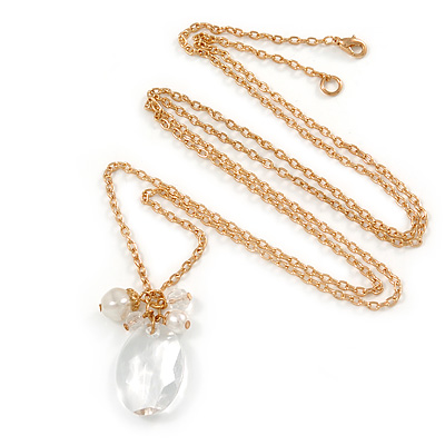 Long Oval Stone, Simulated Pearl Bead Pendant with Gold Tone Chain - 88cm L