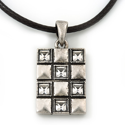 Burn Silver Crystal Square Pendant With Black Leather Style Cord - 38cm Length