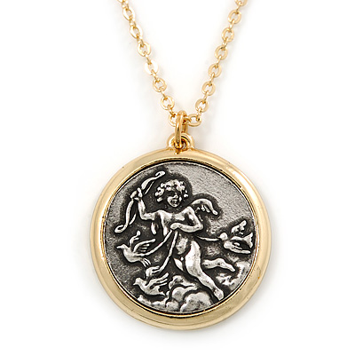 Two Tone 'Angel' Medallion Pendant With Gold Tone Chain - 40cm L/ 5cm Ext