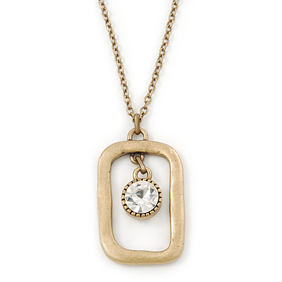Matte Gold Tone Crystal Square Pendant With Long Chain - 70cm Length/ 7cm Extension