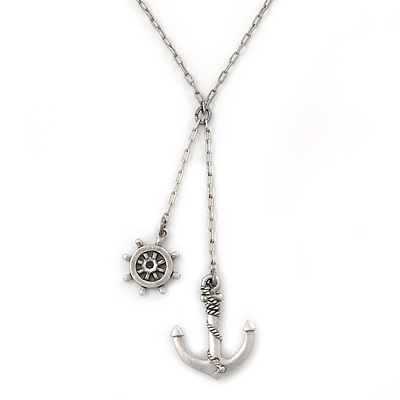 Vintage Inspired 'Anchor & Steer Wheel' Pendant With Silvder Tone Chain Necklace - 36cm L/ 8cm Ext