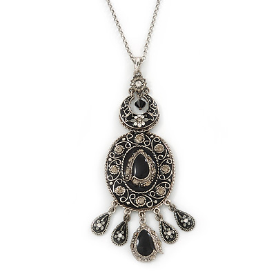 Victorian Style Black Enamel, Floral Charm Pendant With 80cm L Pewter Tone Chain