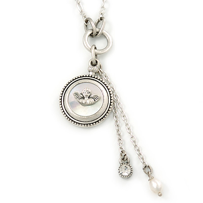 Vintage Inspired Mother of Pearl 'Angel' Pendant With Silver Tone Chain - 36cm L/ 7cm Ext