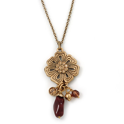Vintage Inspired Flower And Charms Pendant With Gold Tone Chain - 38cm Length/ 8cm Extension