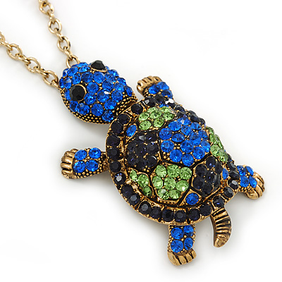 Light Green, Sapphire, Dark Blue Swarovski Crystal Turtle Pendant With Long Gold Tone Chain - 70cm Length/ 5cm Extension