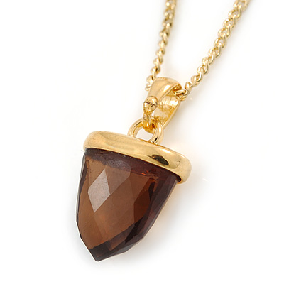 Small Brown Crystal Acorn Pendant with Gold Tone Chain - 40cm L/ 6cm Ext
