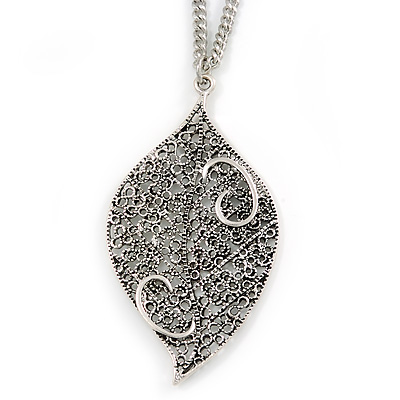 Vintage Inspired Antique Silver Filigree Leaf Pendant with Silver Tone Chain - 86cm L