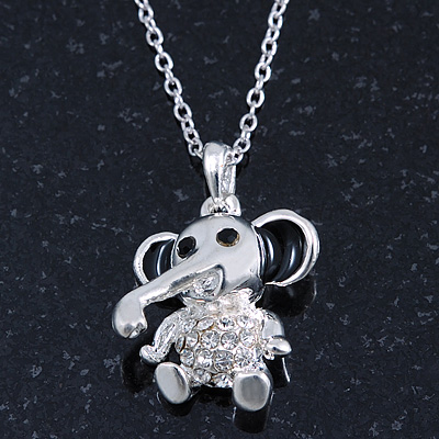 Small Crystal Elephant Pendant With Silver Tone Snake Chain - 40cm Length/ 4cm Extension