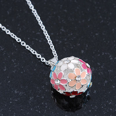 Multicoloured Enamel, Crystal Flower Ball Pendant With Silver Tone Chain - 40cm Length/ 5cm Extension