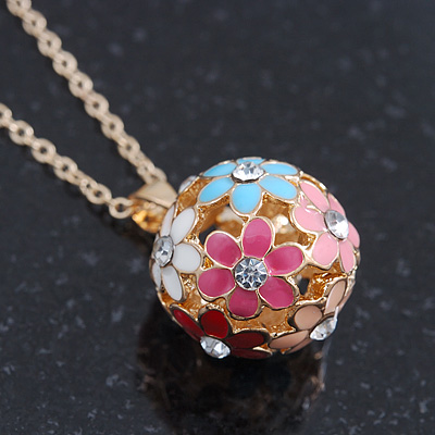 Multicoloured Enamel, Crystal Flower Ball Pendant With Gold Tone Chain - 40cm Length/ 5cm Extension
