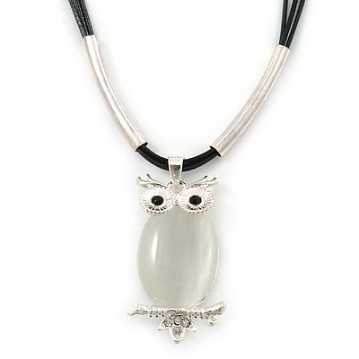 Cat Eye Owl Pendant On Black Waxed Cords In Silver Tone Metal - 38cm Length/ 5cm Extension