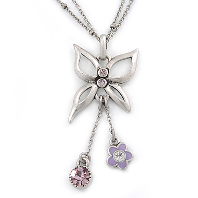 Butterfly Pendant with Double Chain In Silver Tone - 37cm L/ 8cm Ext