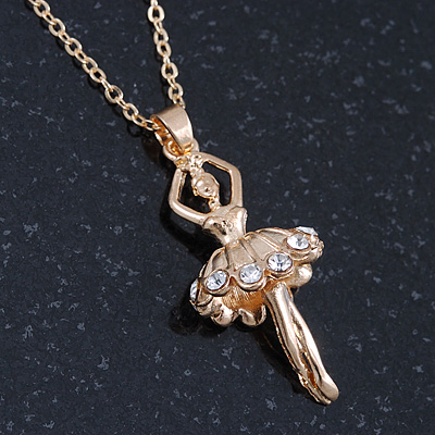 Gold Tone, Clear Crystal Ballerina Pendant With 40cm L/ 4cm Ext Chain