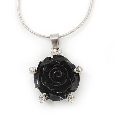 Black Acrylic Rose Pendant With Silver Tone Snake Chain - 40cm Length/ 5cm Extension