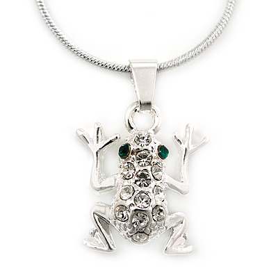 Small Crystal Frog Pendant With Silver Tone Snake Chain - 40cm Length/ 4cm Extension