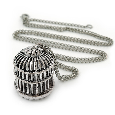 Vintage Inspired Bird Cage Pendant With Long Silver Tone Chain - 80cm Length