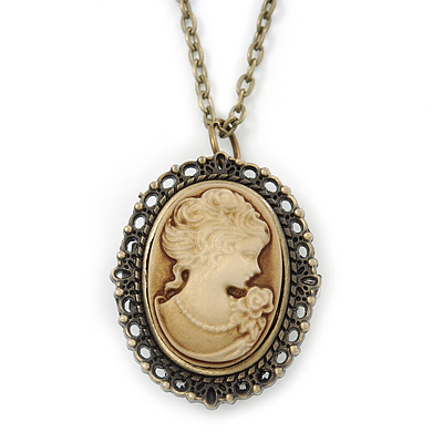 Brass Cameo Pendant/ Locket/ Watch With Long Chain - 80cm Length (Quartz Clock)