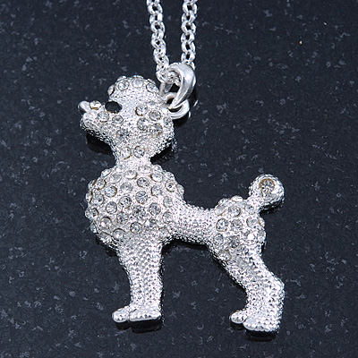 Clear Crystal Poodle Pendant With Silver Tone Chain - 44cm Length/ 4cm Extension