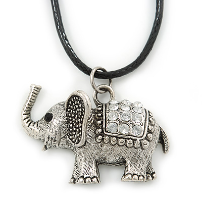 Clear Crystal Elephant Pendant With Black Leather Cord In Burnt Silver Tone - 40cm L/ 4cm Ext