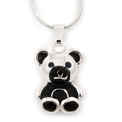 Silver Tone Black Enamel Teddy Bear Pendant With Snake Type Chain - 40cm L/ 4cm Ext