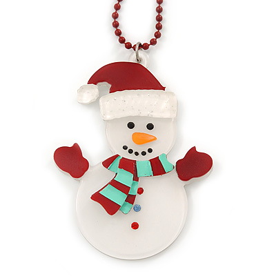 White/ Red Christmas Snowman Acrylic Pendant With Dark Red Beaded Chain - 44cm L