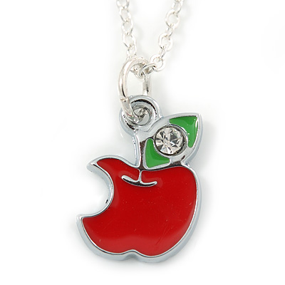 Tiny Red/ Green Apple Pendant with Silver Tone Chain - 40cm L - main view