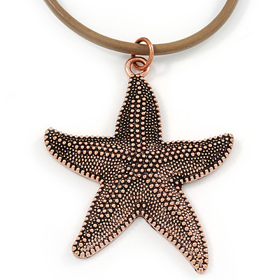 Copper Tone Large Textured Starfish Pendant with Thick Beige Leather Cord - 45cm L/ 5cm Ext
