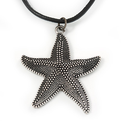 Antique Silver Large Textured Starfish Pendant with Thick Black Leather Cord - 45cm L/ 5cm Ext