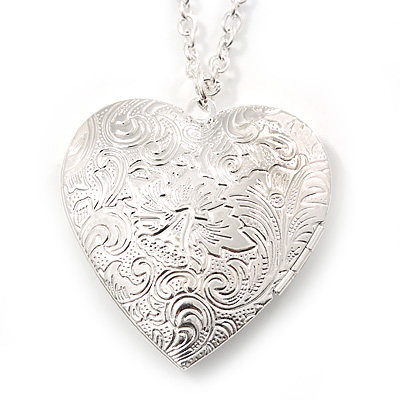 Large Hammered Heart Locket Pendant with Silver Tone Chain - 42cm L/ 5cm Ext