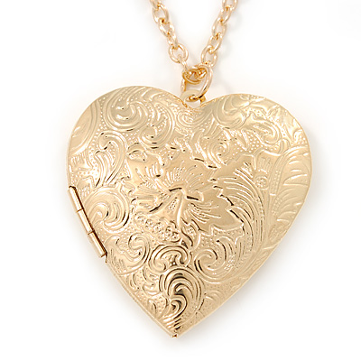 Large Hammered Heart Locket Pendant with Gold Tone Chain - 42cm L/ 5cm Ext
