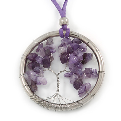 'Tree Of Life' Open Round Pendant with Amethyst Stones on Purple Suede Cord - 88cm L
