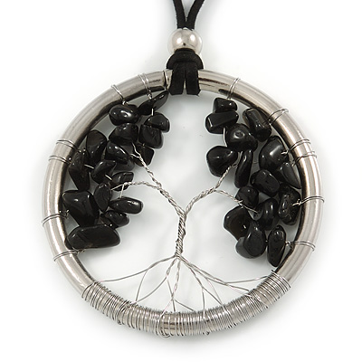 'Tree Of Life' Open Round Pendant with Black Semiprecious Stones on Black Suede Cord - 88cm L