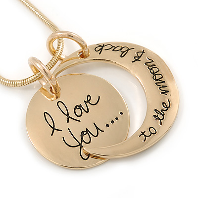 'I love you...to the moon & back' Inscription Gold Tone Double Sided Medallion & Moon Pendant and Chain - 40cm L/ 5cm Ext