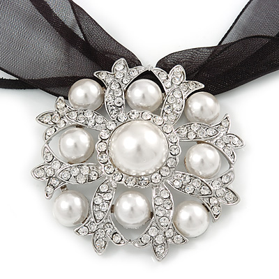 White Glass Pearl, Clear Crystal Flower Pendant With Black Organza Ribbon In Silver Tone - 44cm L/ 7cm Ext