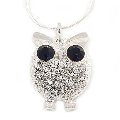 Clear/ Dark Blue Crystal Owl Pendant with Snake Type Chain In Silver Tone Metal - 46cm L/ 4cm Ext