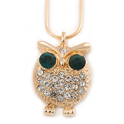 Clear/ Green Crystal Owl Pendant with Snake Type Chain In Gold Tone Metal - 46cm L/ 4cm Ext
