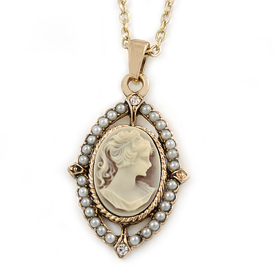 Vintage Inspired Simulated Pearl Cameo Pendant with Gold Tone Chain - 40cm L/ 7cm Ext - main view