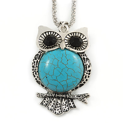 Vintage Inspired Turquoise Style Stone Owl Pendant with Thick Long Chain In Silver Tone - 66cm L/ 3cm Ext