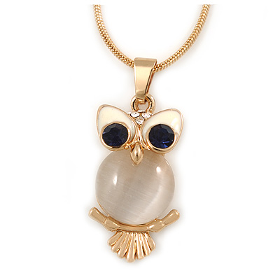 Cute Crystal Owl Pendant with Snake Type Chain In Gold Tone Metal - 44cm L/ 4cm
