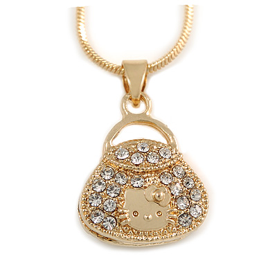 Small Fancy Crystal Bag Pendant with Gold Tone Snake Type Chain - 42cm L/ 5cm Ext