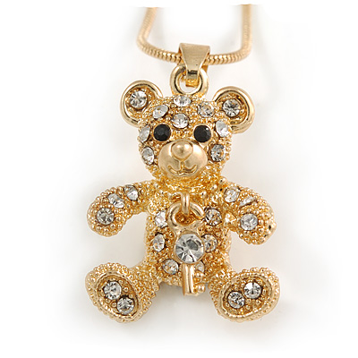 Small Crystal Bear with Dangling Key Pendant with Snake Type Chain In Gold Tone - 40cm L/ 5cm Ext