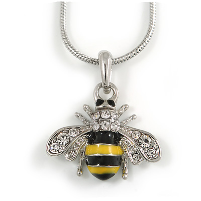 Cute Small Clear Crystal, Yellow/ Black Enamel Bee Pendant with Silver Tone Snake Chain - 40cm L/ 4cm Ext