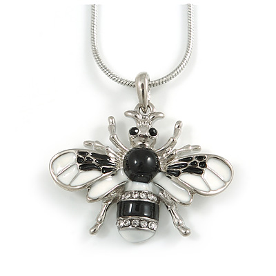 Cute Clear Crystal, Black/ White Enamel Bee Pendant with Rhodium Plated Snake Chain - 40cm L/ 6cm Ext