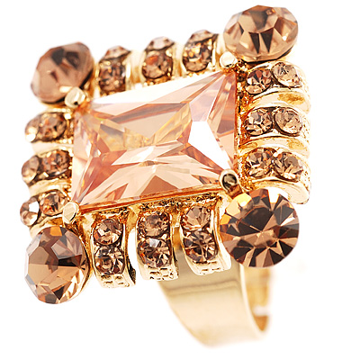 Queen Of Beauty Citrine Crystal Cocktail Ring