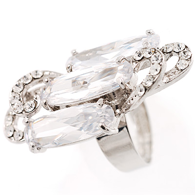 Large Crystal Clear Bling Cocktail Ring