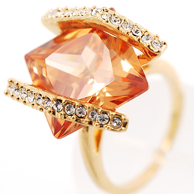 Square Cut Champagne Crystal Fashion Ring