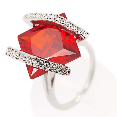 Square Cut Bright Red Crystal Fashion Ring