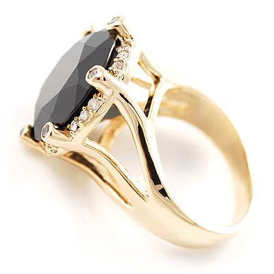 Show Off Jet-Black Crystal Costume Ring