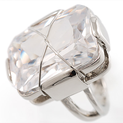 Twisted Rectangular Clear Cocktail Ring